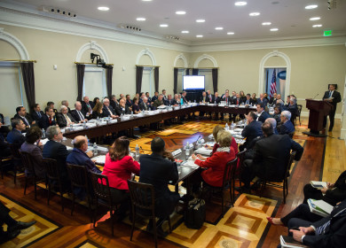 Officials from the President-elect Donald Trump incoming administration and President Barack Obama's Cabinet and senior staff hold a transition meeting in the Eisenhower Executive Office Building of the White House, Jan. 13, 2017.  (Official White House Photo by Lawrence Jackson)